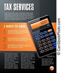 services, brochure, vecteur, impôt