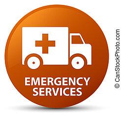 services, brun, bouton, rond, urgence