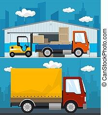 services, cargaison, ensemble, stockage