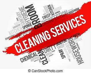 services, collage, mot, nettoyage, nuage