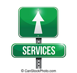 services, conception, route, illustration, signe