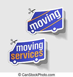 services, en mouvement, étiquettes