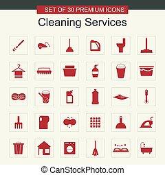 services, ensemble, nettoyage, vecteur, icônes