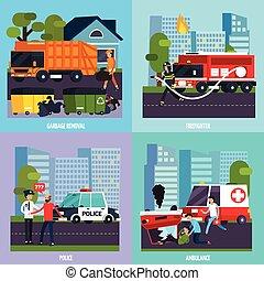 services, ensemble, urgence, icône