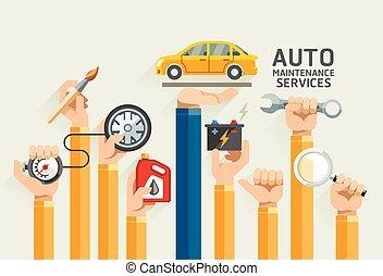 services., fenntartás, autó