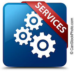 Services (gears icon) blue square button red ribbon in corner
