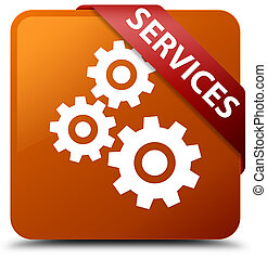 Services (gears icon) brown square button red ribbon in corner