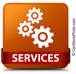 Services (gears icon) brown square button red ribbon in middle