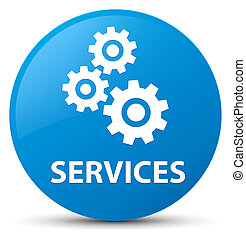 Services (gears icon) cyan blue round button