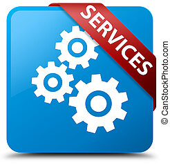 Services (gears icon) cyan blue square button red ribbon in corner