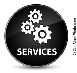 Services (gears icon) elegant black round button