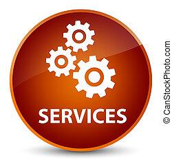 Services (gears icon) elegant brown round button