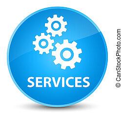 Services (gears icon) elegant cyan blue round button