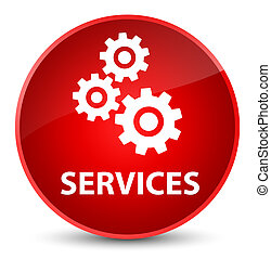 Services (gears icon) elegant red round button
