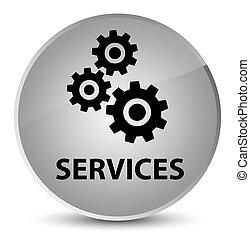 Services (gears icon) elegant white round button