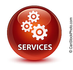 Services (gears icon) glassy brown round button