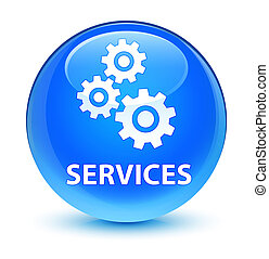 Services (gears icon) glassy cyan blue round button