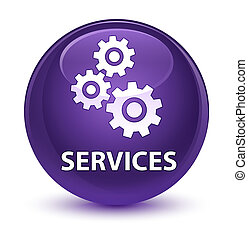 Services (gears icon) glassy purple round button