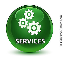 Services (gears icon) glassy soft green round button