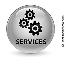 Services (gears icon) glassy white round button