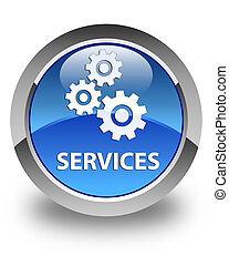Services (gears icon) glossy blue round button
