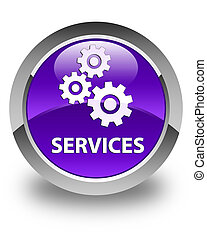 Services (gears icon) glossy purple round button