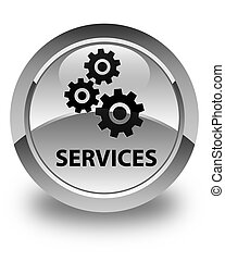 Services (gears icon) glossy white round button