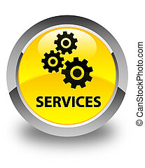 Services (gears icon) glossy yellow round button