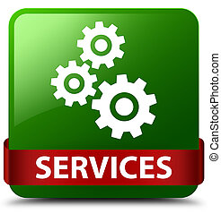 Services (gears icon) green square button red ribbon in middle