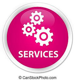 Services (gears icon) premium pink round button