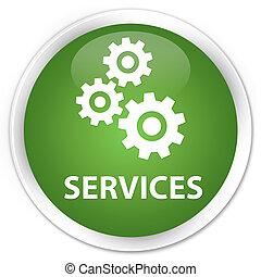 Services (gears icon) premium soft green round button
