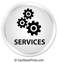 Services (gears icon) premium white round button