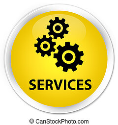 Services (gears icon) premium yellow round button