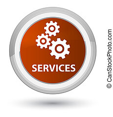 Services (gears icon) prime brown round button