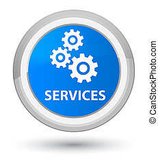 Services (gears icon) prime cyan blue round button
