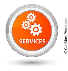 Services (gears icon) prime orange round button