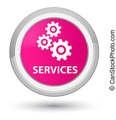 Services (gears icon) prime pink round button