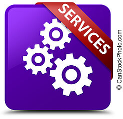 Services (gears icon) purple square button red ribbon in corner