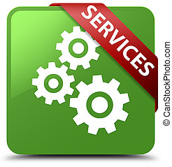 Services (gears icon) soft green square button red ribbon in corner