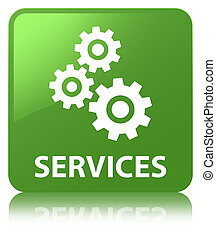 Services (gears icon) soft green square button