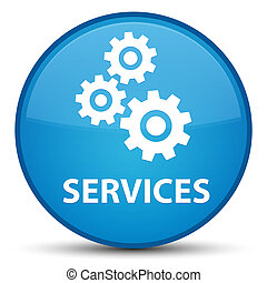 Services (gears icon) special cyan blue round button