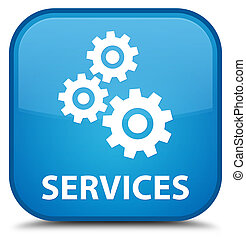 Services (gears icon) special cyan blue square button