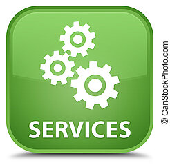 Services (gears icon) special soft green square button