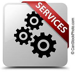 Services (gears icon) white square button red ribbon in corner