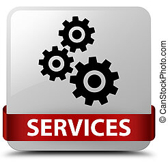 Services (gears icon) white square button red ribbon in middle