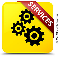 Services (gears icon) yellow square button red ribbon in corner