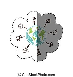 services, global, apps, relier, réseau