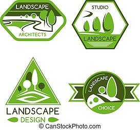 services, landscaping, conception, emblème, nature