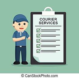 services livraison, presse-papiers, courrier, homme