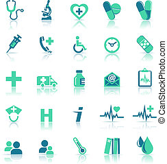 services médicaux, icônes, dans, monde médical, vert